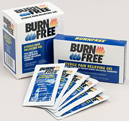 Burn Free Pain Relieving Gel. Single Dose Packets 144/box